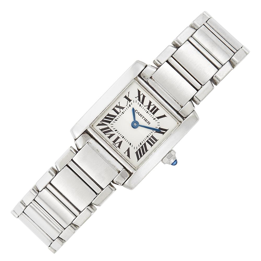 Stainless Steel 'Tank Francaise' Wristwatch, Cartier