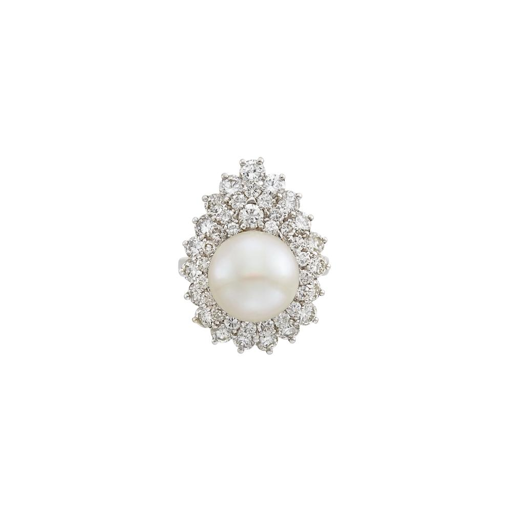 Platinum, Cultured Button Pearl and Diamond Ring-Dant