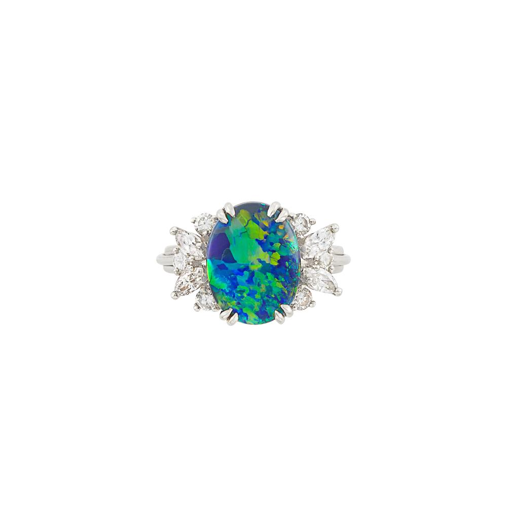 Platinum, Black Opal and Diamond Ring