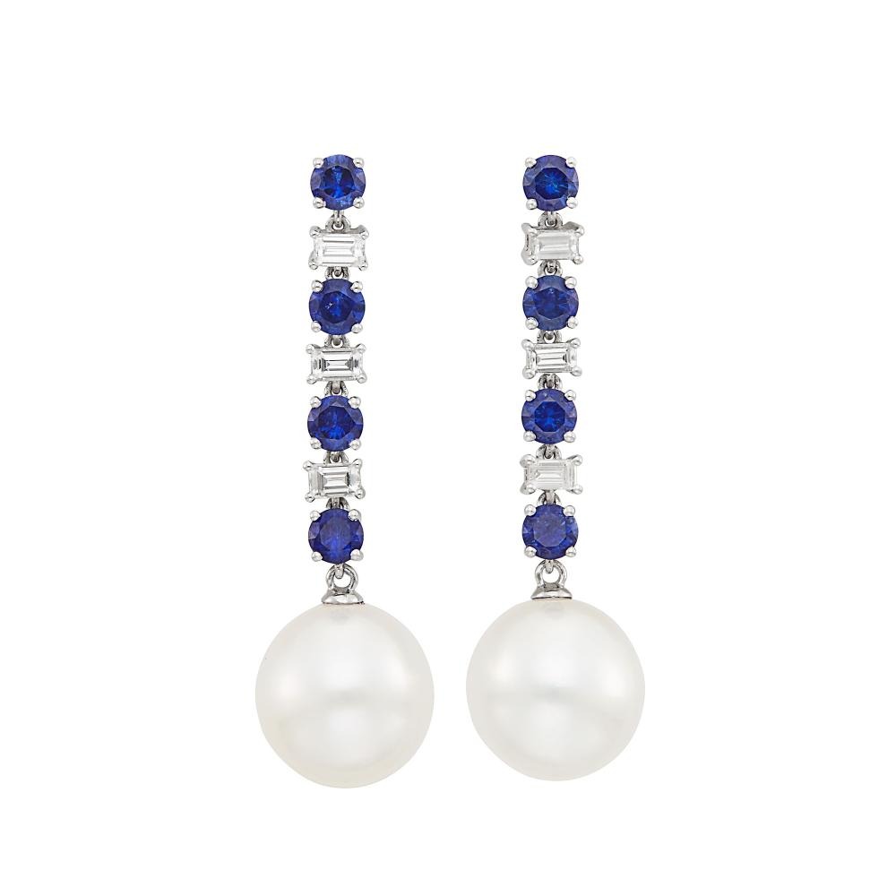 Pair of White Gold, Sapphire, Diamond and South Sea Cultured Pearl Pendant-Earrings