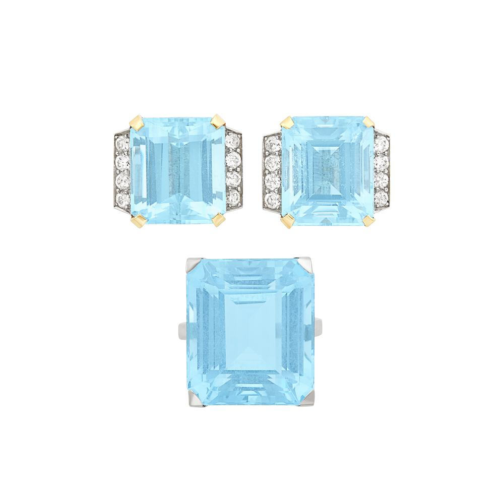 Platinum and Aquamarine Ring and Pair of Platinum, Gold, Aquamarine and Diamond Earclips