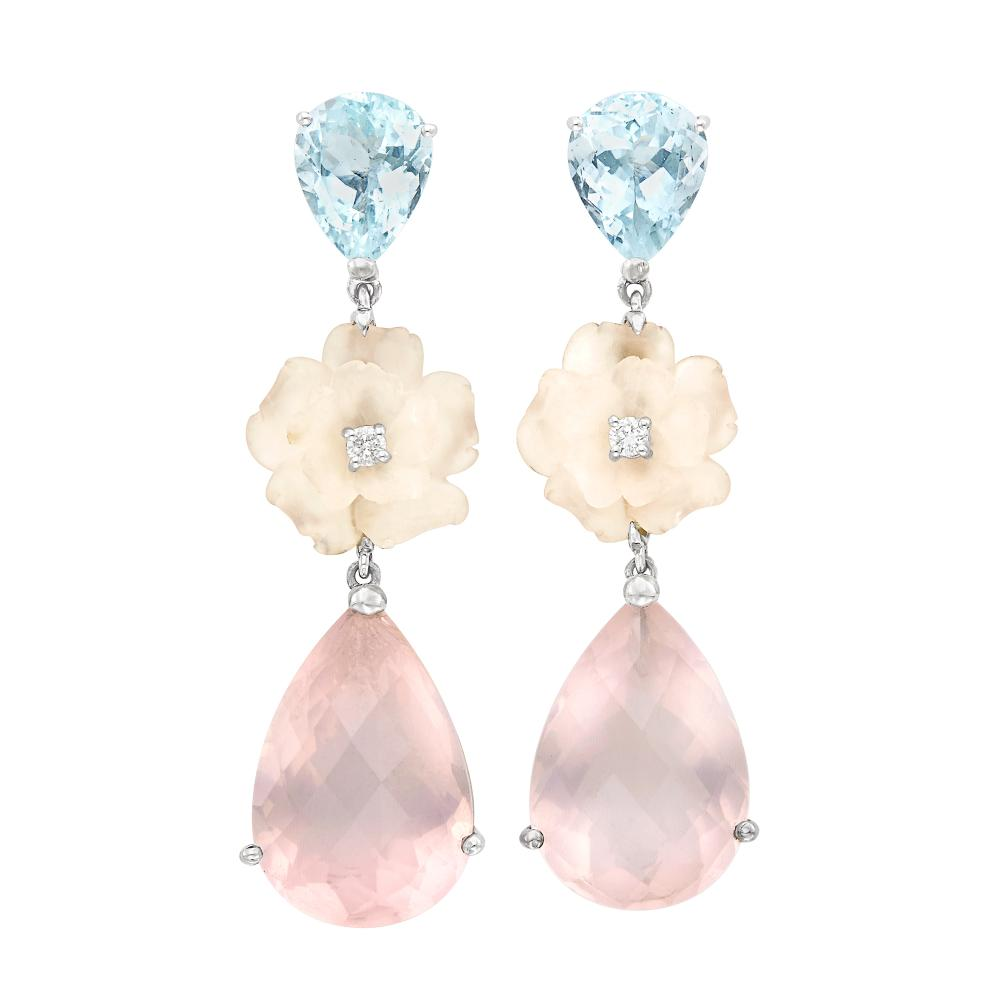 Pair of White Gold, Aquamarine, Rose Quartz and Diamond Pendant-Earclips