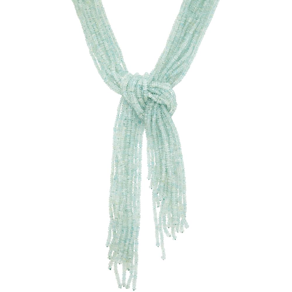 Thirteen Strand Aquamarine Bead and White Gold 'Scarf' Necklace, Mish