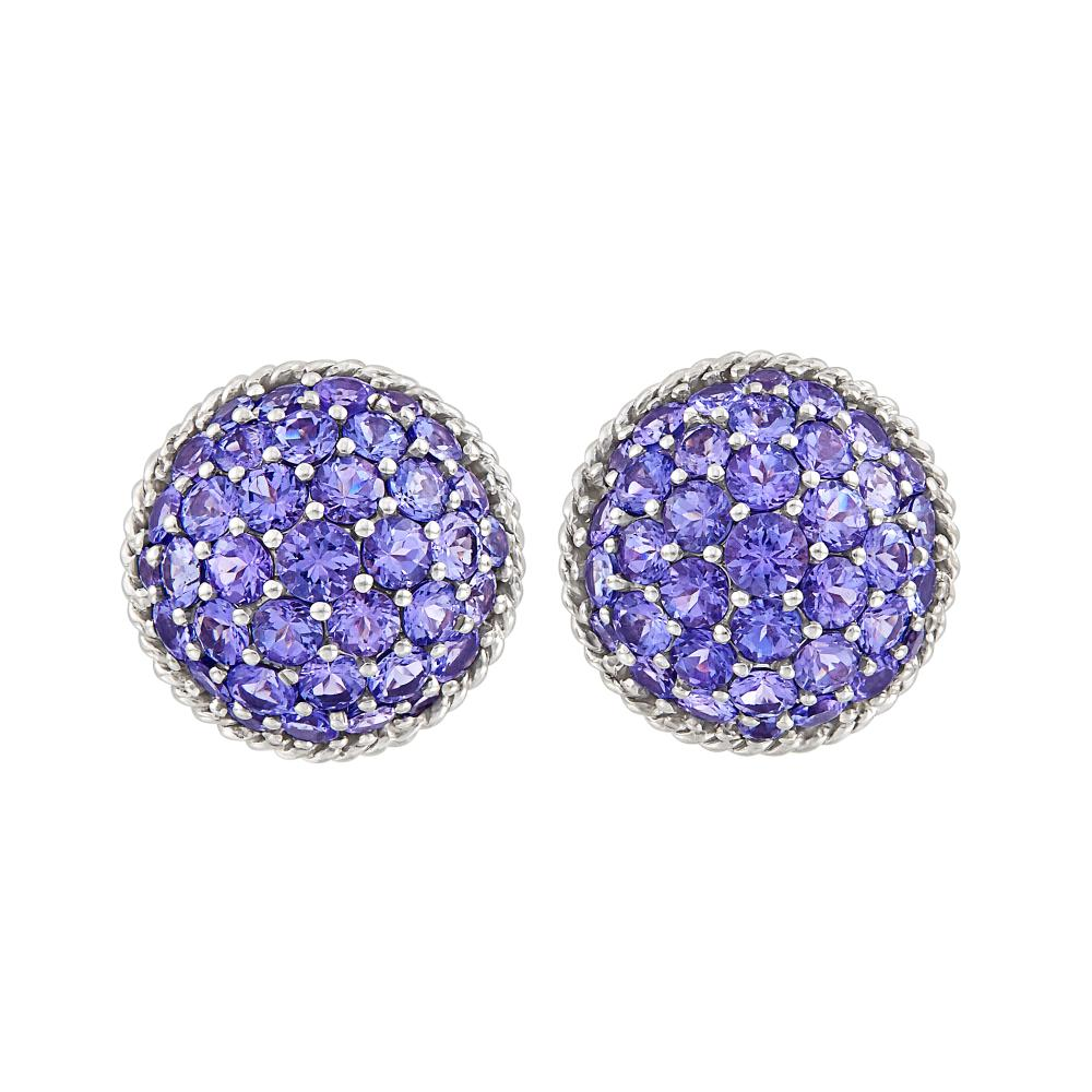 Pair of White Gold and Violet Sapphire Bombé Earclips, Mish