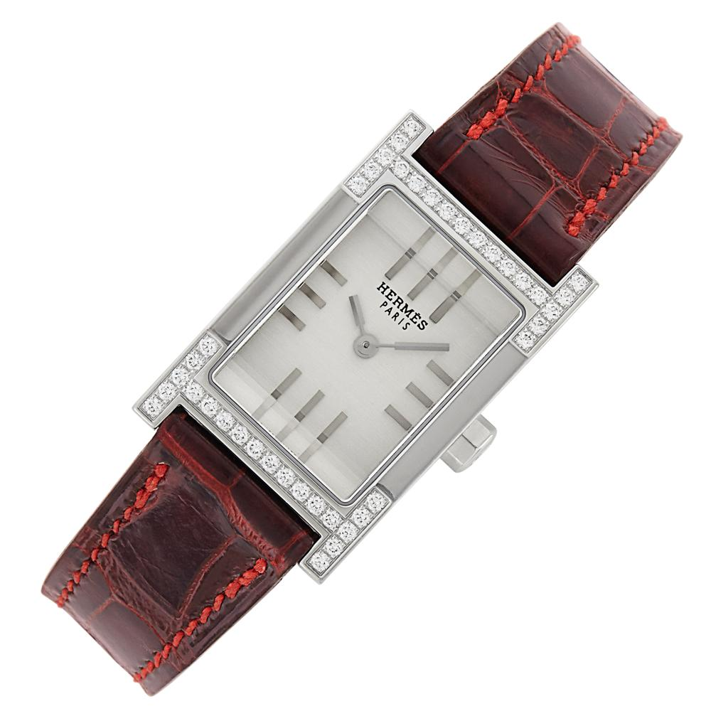 Stainless Steel and Diamond 'Tandem' Wristwatch, Hermès