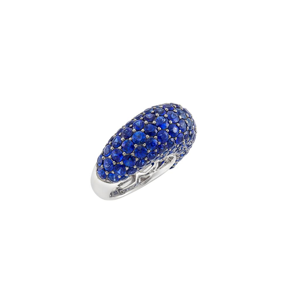 White Gold and Sapphire Bombé Ring, Piranesi