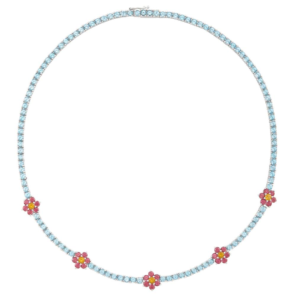 White Gold, Aquamarine, Pink Tourmaline and Citrine Necklace