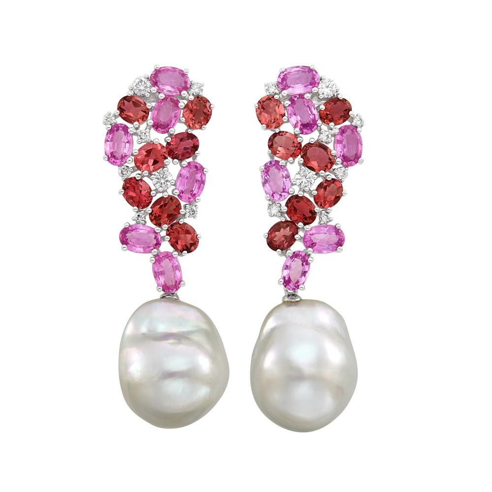 Pair of White Gold, Gem-Set, Diamond and South Sea Baroque Cultured Pearl Pendant-Earrings