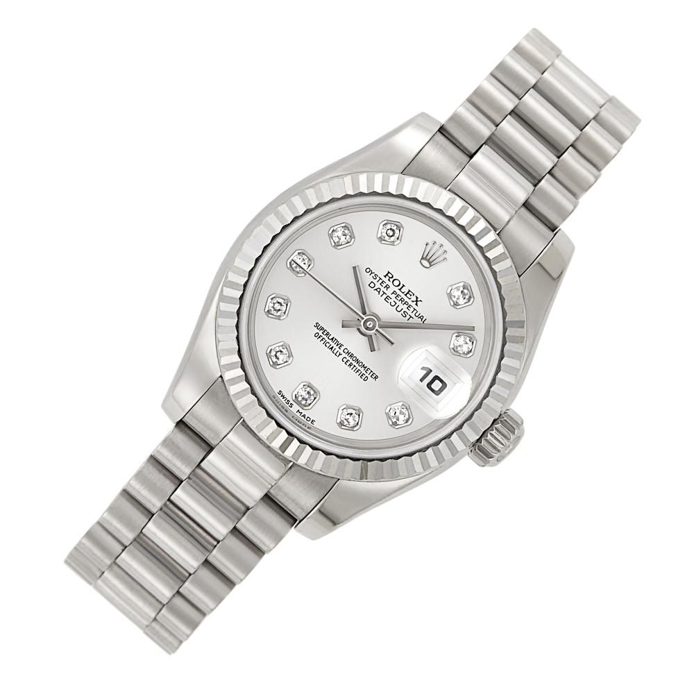 Rolex, White Gold and Diamond 'Oyster Perpetual DateJust' Wristwatch, Ref. 179179