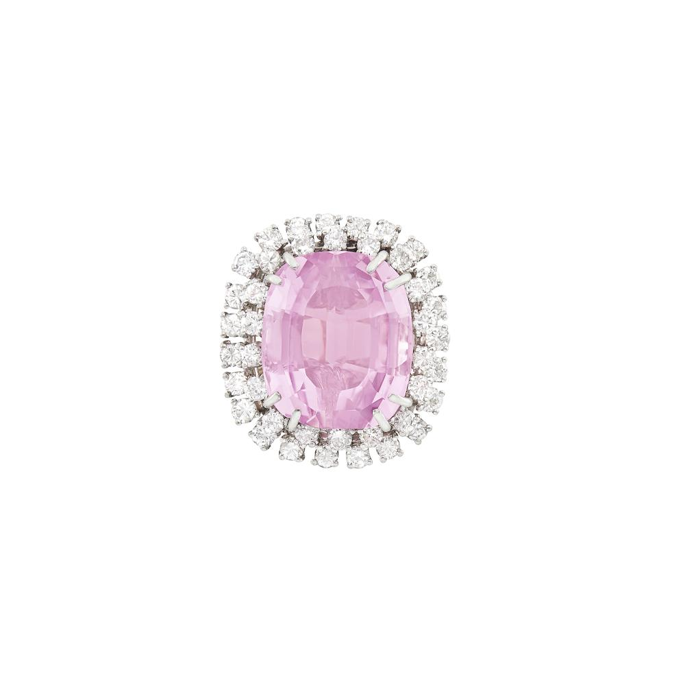 Two-Color Gold, Kunzite and Diamond Ring