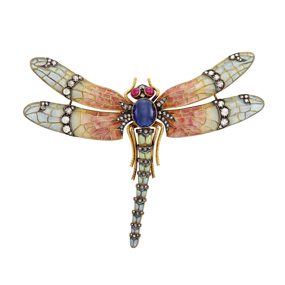 Gold, Silver, Plique-à-Jour Enamel, Cabochon Sapphire and Ruby and Diamond Dragonfly Brooch