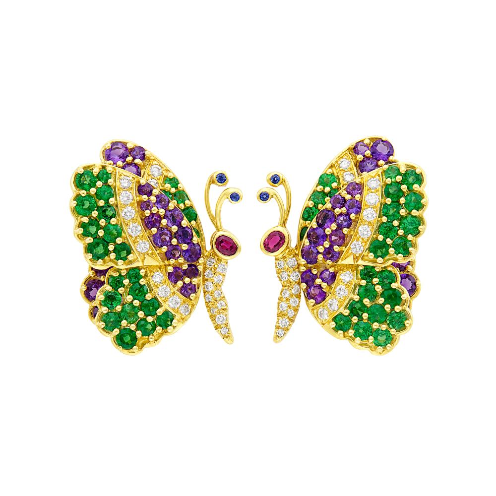 Pair of Gold, Gem-Set and Diamond Butterfly Earclips, Jean Vitau