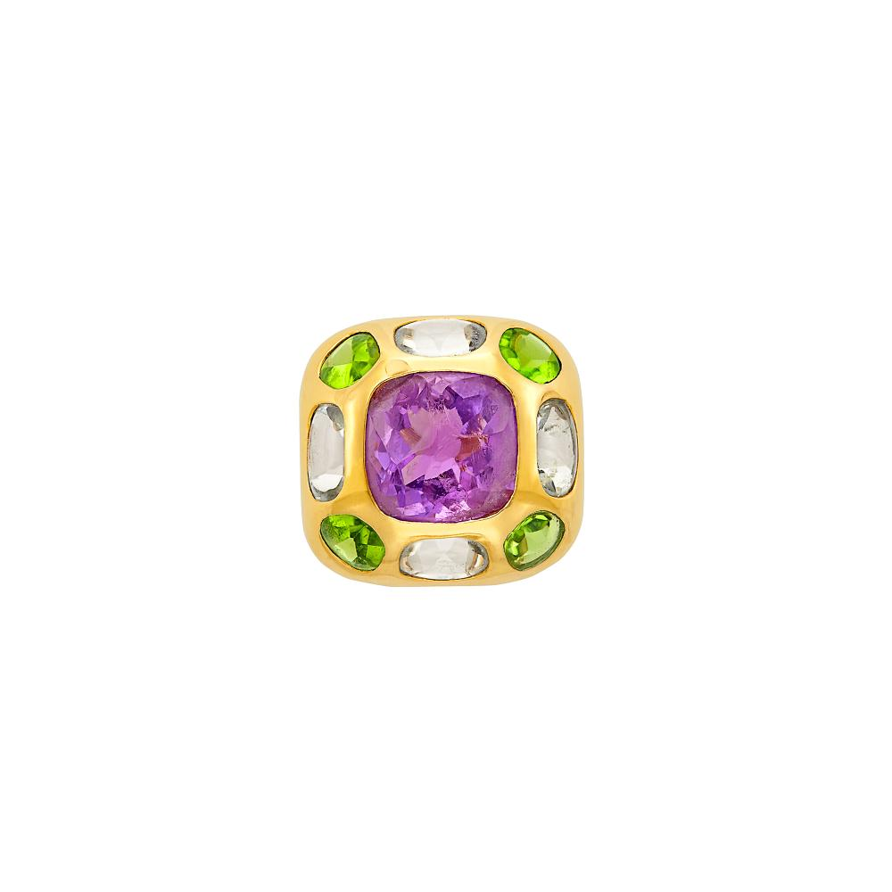 Gold, Amethyst, Peridot and Aquamarine 'Baroque' Ring, Chanel, France