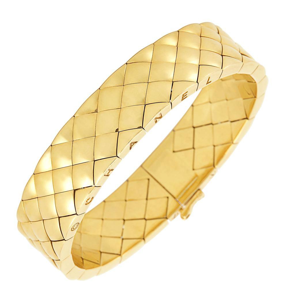 Gold 'Matelasse' Quilted Bracelet, Chanel, France