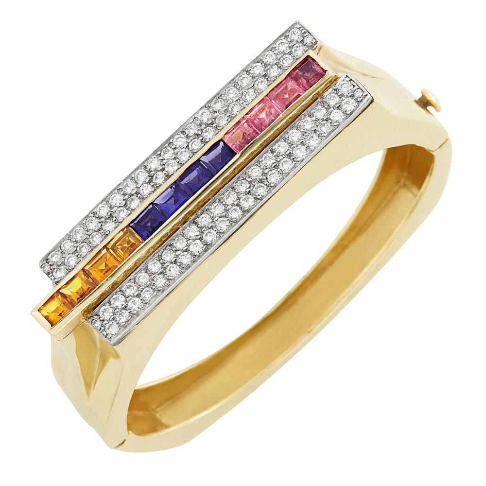 Two-Color Gold, Gem-Set and Diamond Bangle Bracelet