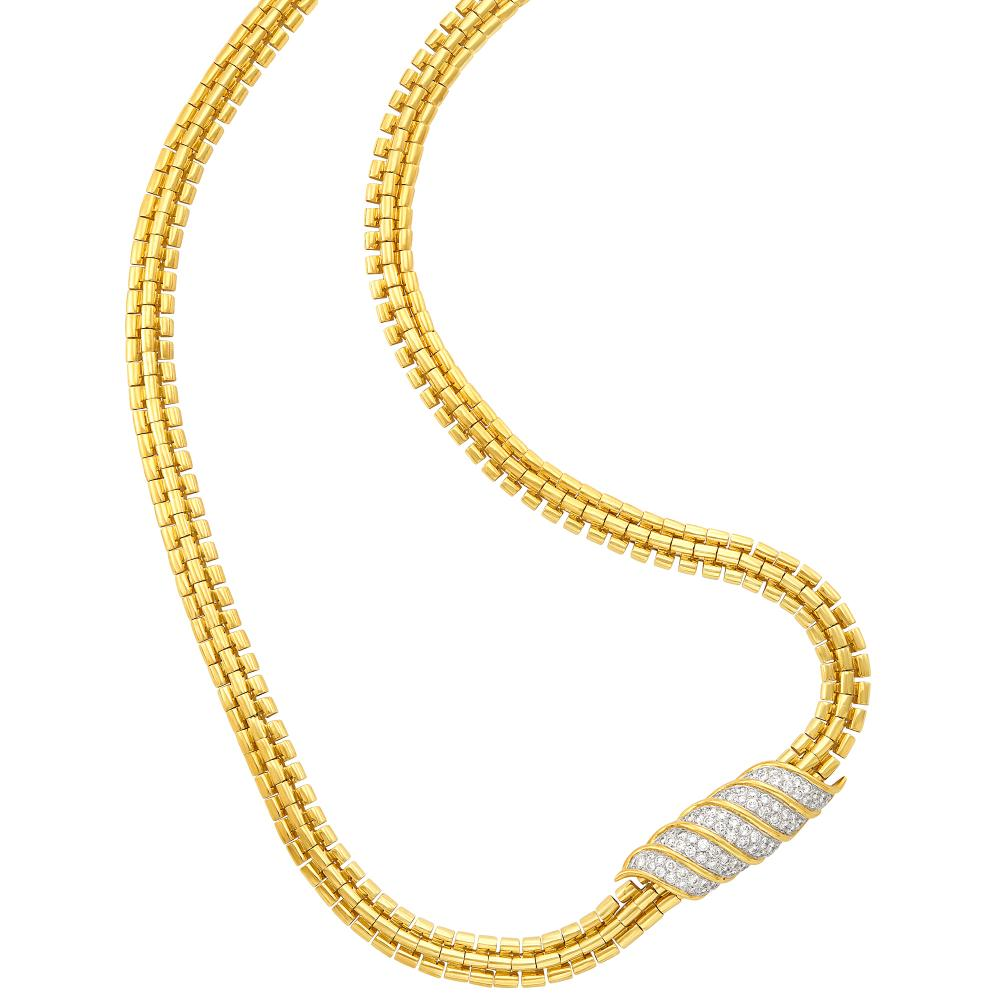 Long Gold Necklace with Two-Color Gold and Diamond Enhancer