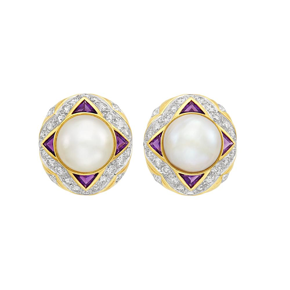 Pair of Two-Color Gold, Mabé Pearl, Amethyst and Diamond Earclips