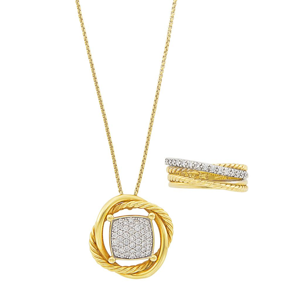Two-Color Gold and Diamond Pendant-Necklace and Ring, David Yurman