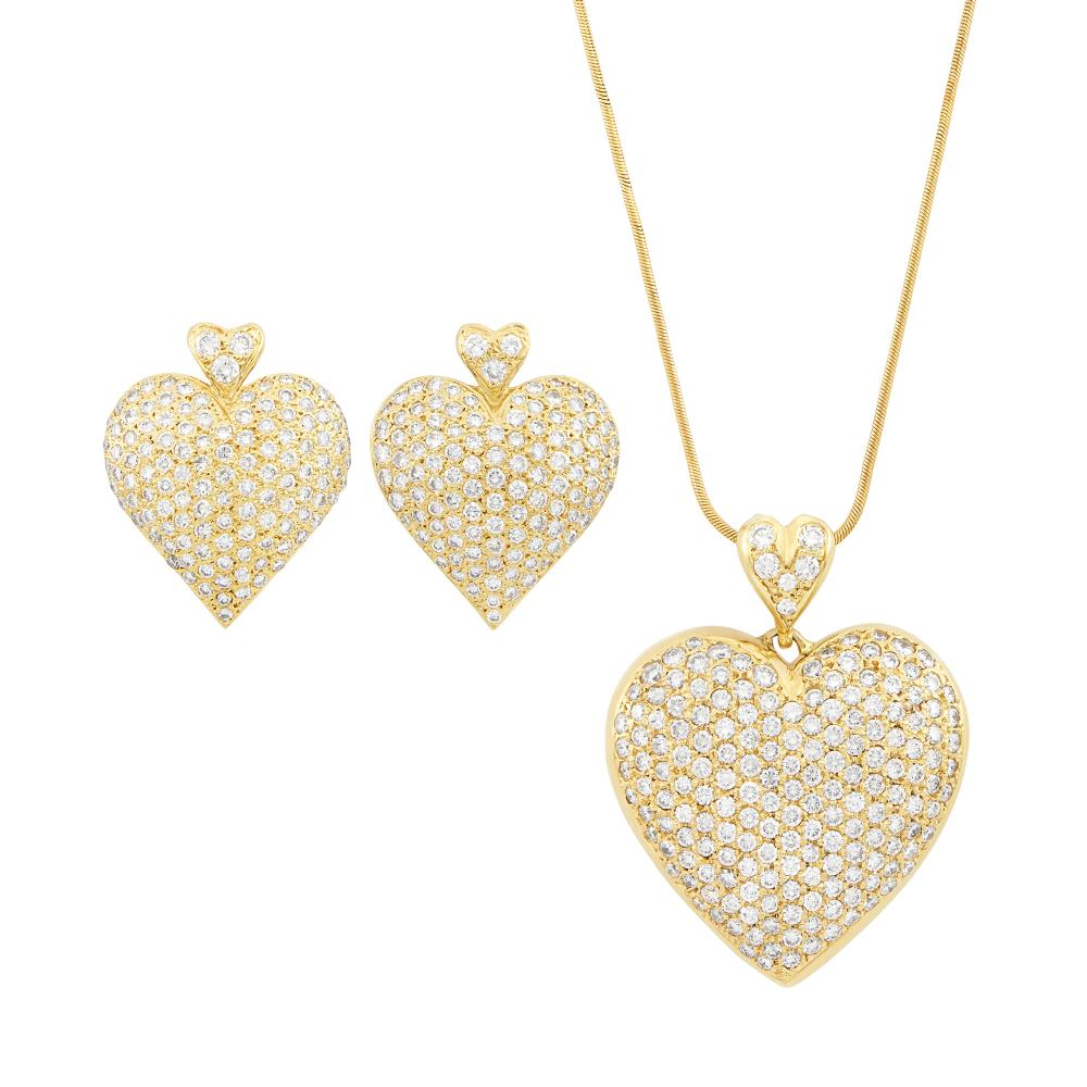 Gold and Diamond Heart Pendant with Snake Chain Necklace and Pair of Earrings
