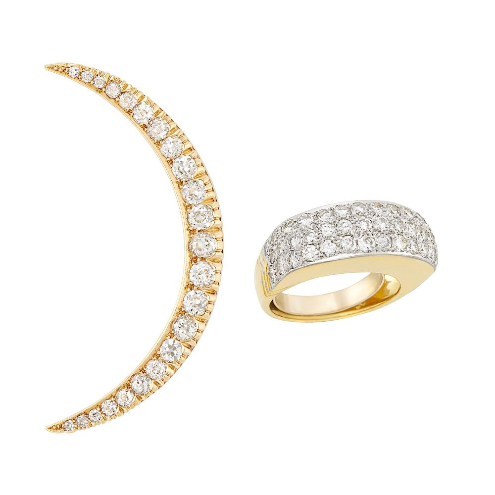 Gold and Diamond Crescent Brooch and Two-Color Gold and Diamond Ring