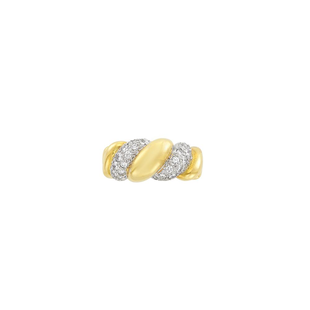 Two-Color Gold and Diamond Bombé Ring