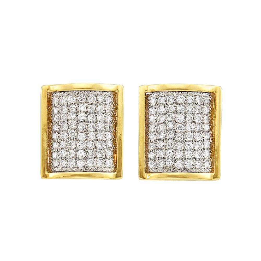 Pair of Two-Color Gold and Diamond Earrings
