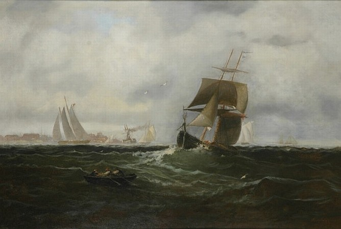 Franklin Dullin Briscoe 1844-1903 Shipping Offshore on a Breezy Day