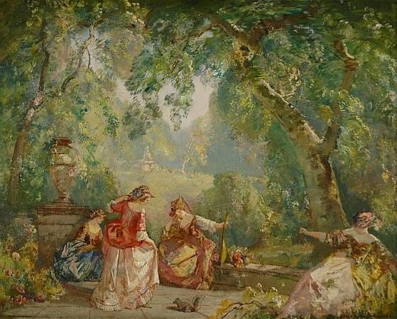 Frederick Ballard Williams 1871-1956 Elegant Women in a Garden Setting