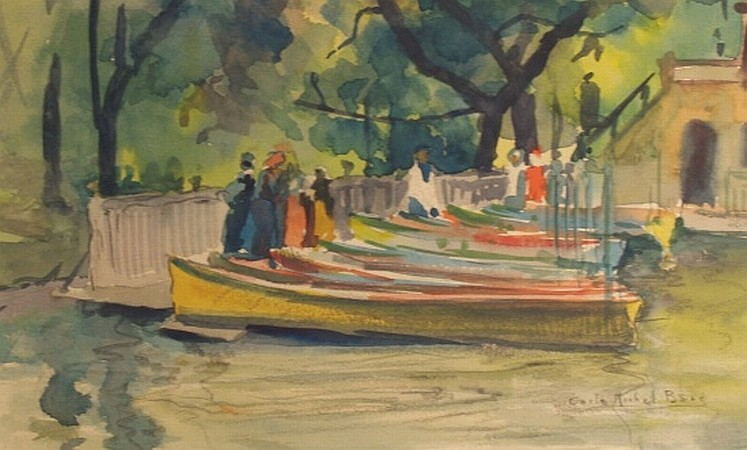 Carle Michel Boog 1877-1967 Boats in Central Park, 1906
