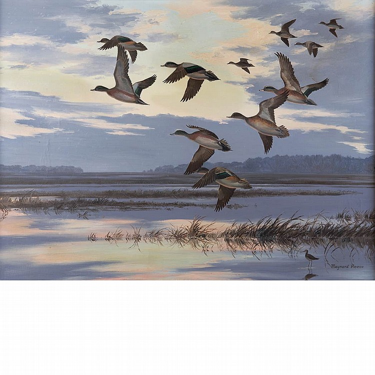 Maynard Reece American, b. 1920 Ducks Flying over a Marsh
