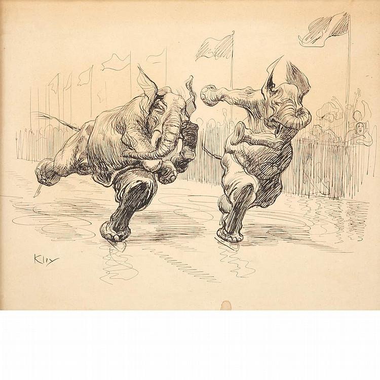 Heinrich Kley German, 1863-1945 Racing Elephants