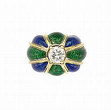 Gold, Diamond and Green and Blue Enamel Dome Ring, David Webb