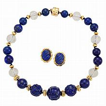 Carved Lapis, Lapis, Carved Rock Crystal and Gold Bead Necklace and Pair of Gold and Fluted Lapis Earclips