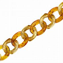 Gold and Amber Curb Link Bracelet