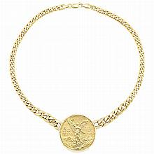 Gold Curb Link Chain Necklace with Mexican Gold Coin Pendant