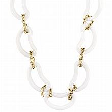 Long White Agate and Gold Link Necklace