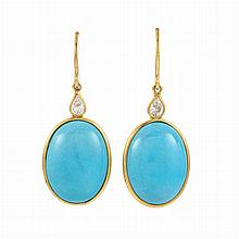 Pair of Gold, Turquoise and Diamond Pendant-Earrings