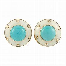 Pair of Gold, White Agate, Turquoise and Diamond Earrings