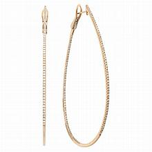 Pair of Oversized Rose Gold and Diamond Hoop Earrings