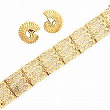 Gold Bracelet and Pair of Earclips