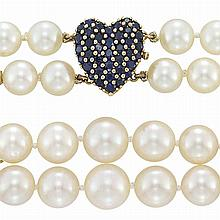 Double Strand Cultured Pearl Necklace with Gold and Sapphire Heart Clasp