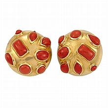 Pair of Gold and Coral Earclips, Seaman Schepps