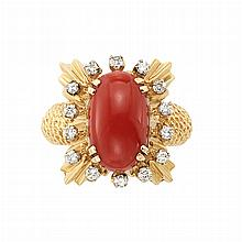 Gold, Oxblood Coral and Diamond Ring