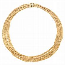 Five Strand Gold Necklace
