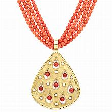 Four Strand Coral Bead Necklace with Gold, White and Orange Coral Pendant
