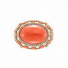 Two-Color Gold, Cabochon Coral and Diamond Ring, Piranesi