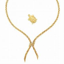 Gold Lariat Necklace, France, and Gold Turtle Clip-Brooch