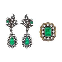 Pair of Silver, Gold, Foil-Backed Emerald and Diamond Pendant-Earrings and Ring