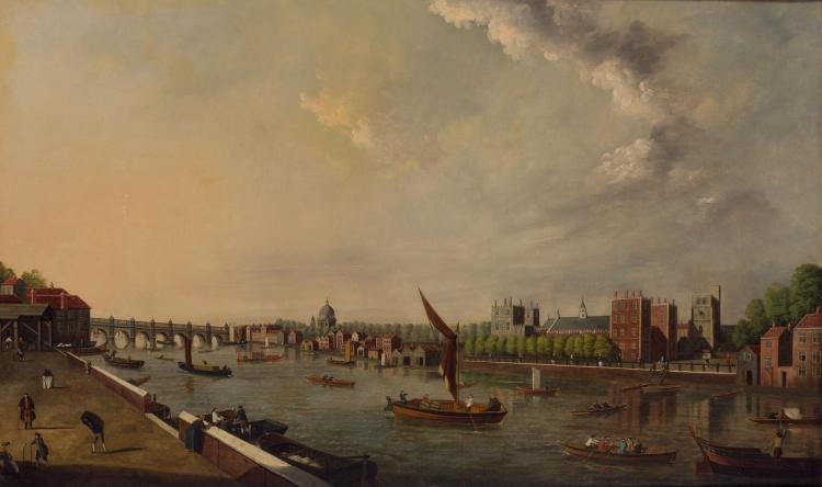 School of Samuel Scott The Thames at Lambeth Oil on canvas 29 3/4 x 50 1/4 inches (75.5 x 127.6 cm)