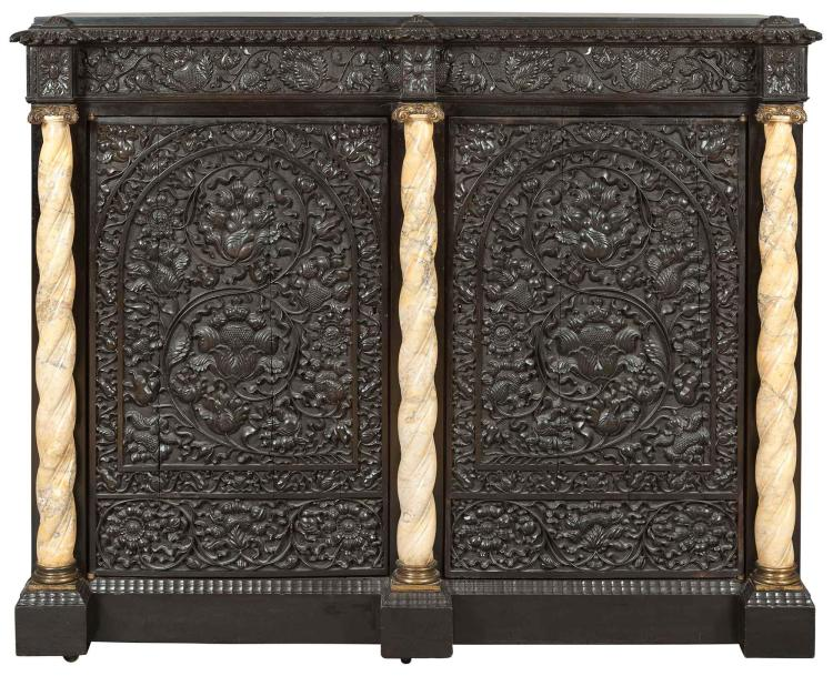 Anglo-Indian Ebony, Part-Ebonized and Gilt-Metal-Mounted Marble Cabinet